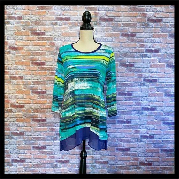 LOGO Lori Goldstein Striped Tunic w/ Chiffon Hem